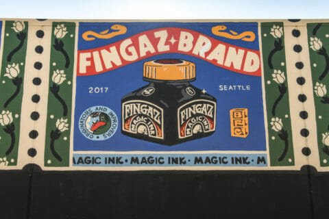 © Broken Fingaz, Fingaz Magic Ink (detail), 2017. SODO Track, Seattle. Photo by @wiseknave.